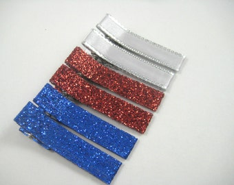 Red White Blue Hair Clips - Sparkle Hair Clip Set - Toddler Teenager Adult Hair Clips - 4th of July Hair Clip Set