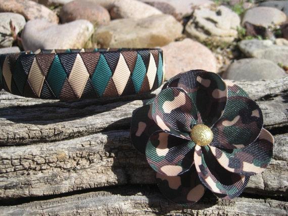 Camoflauge Headband -  Camoflauge Flower Hair Clip - Camo Headband - Camo Flower Clip - Army Hair Bow - Brown Headband - Brown Hair Clip