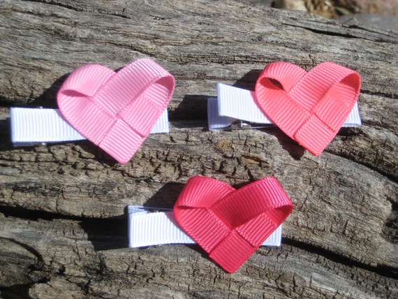 Heart Hair Clip - Ribbon Sculpture - Pink Hair Clip Set - Toddler Child Teen Adult Hair Bow - Hair Clip Gift Set