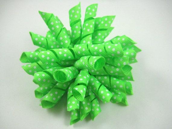 Green Korker Bow  - Green Hair Bow - Polka Dot Korker Hair Bow - Green Polka Dot Hair Clip - Light Green Hair Bow