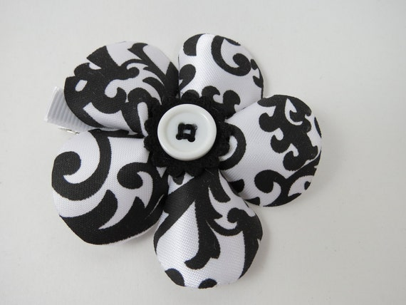 Black and White Hair Bow - Black Flower Hair Clip - White Flower Hair Clip - Damask Hair Clip - Flower Hair Bow