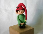 Ooak Singing Elf- Adorable Clay Figurine, Made to Order, or Elf on the Shelf