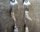 Lovely and Elegant White Long Chain Feather Earrings Triangle Feather and Pheasant Feathers