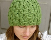 Knit Beanie - Handmade - Light Moss Colored - Link Style