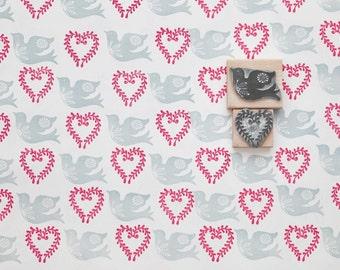 Heart & Bird Stamp