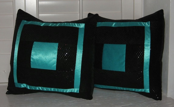 Dana's Teal Blue and Sequined Black Faux Suede Pillow Cover