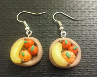 Polymer Clay Fruit Bowl Earrings
