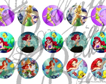Tinkerbell and Little Mermaid bottle cap images