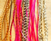5 Pink Natural Long Hair Feather Extension: 8 to 12 inches