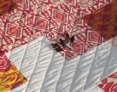 "CUSTOM Baby Quilt.  32x32"" cross quilt: choose 4 fabrics"