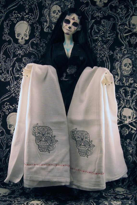Black Muertos Sugar Skull Embroidered Tea Towels