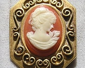 Cameo Brooch Vintage Faux Cameo Pin