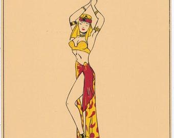 Calendar Girl Pin-Up Cheesecake 1947 Art Beautiful Long Legged Belly Dancer in Costume