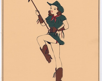 1947 Calendar Girl Pin-Up Cheesecake Art Beautiful Long Legged Cowgirl Drum Majorette Twirling