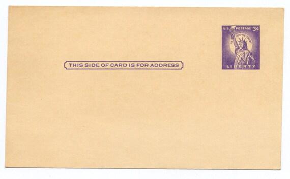 U S A Stamp 3 Cent Statue of Liberty Postal Card Postcard Mint 1950s Purple 3c Postal History