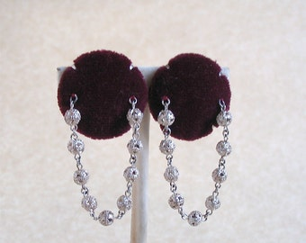 Vintage Clip-On Earrings, Burgundy Velvet with Silver Chain, Vintage 1980's