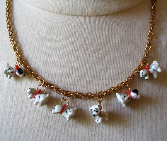 Vintage Dalmatian Necklace with Gold-Tone Chain