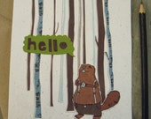Beaver writing set. stationary. original. illustration