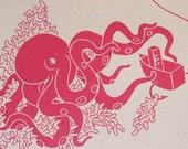 Pink Octopus, Screenprint on handmade paper.