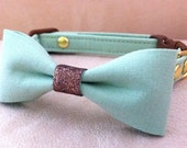 Mint Green Bow Collar for Cats - Organic cotton