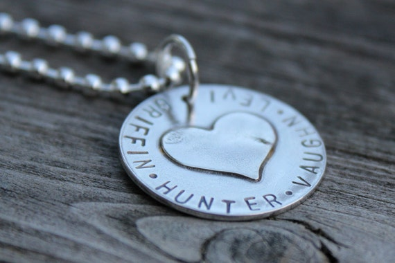 Hand Stamped Necklace - Personalized Necklace - Large Circle with Heart