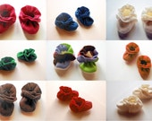 Fleece Baby Booties - Infant Stretchy Shoes - Custom - Many colors to choose from