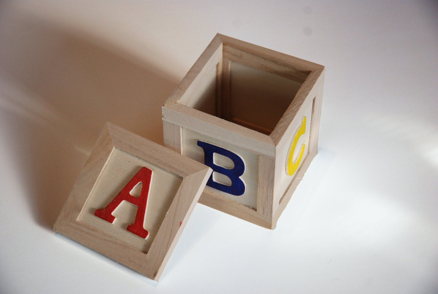 wooden toy block abc red blue yellow small storage box. Black Bedroom Furniture Sets. Home Design Ideas