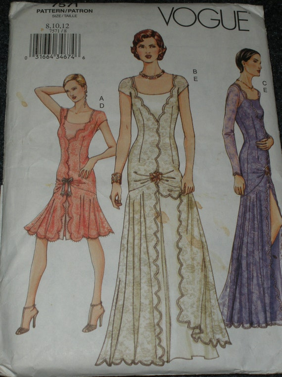 Vogue Pattern 7571 Evening Gown Cocktail Dress 1920 S
