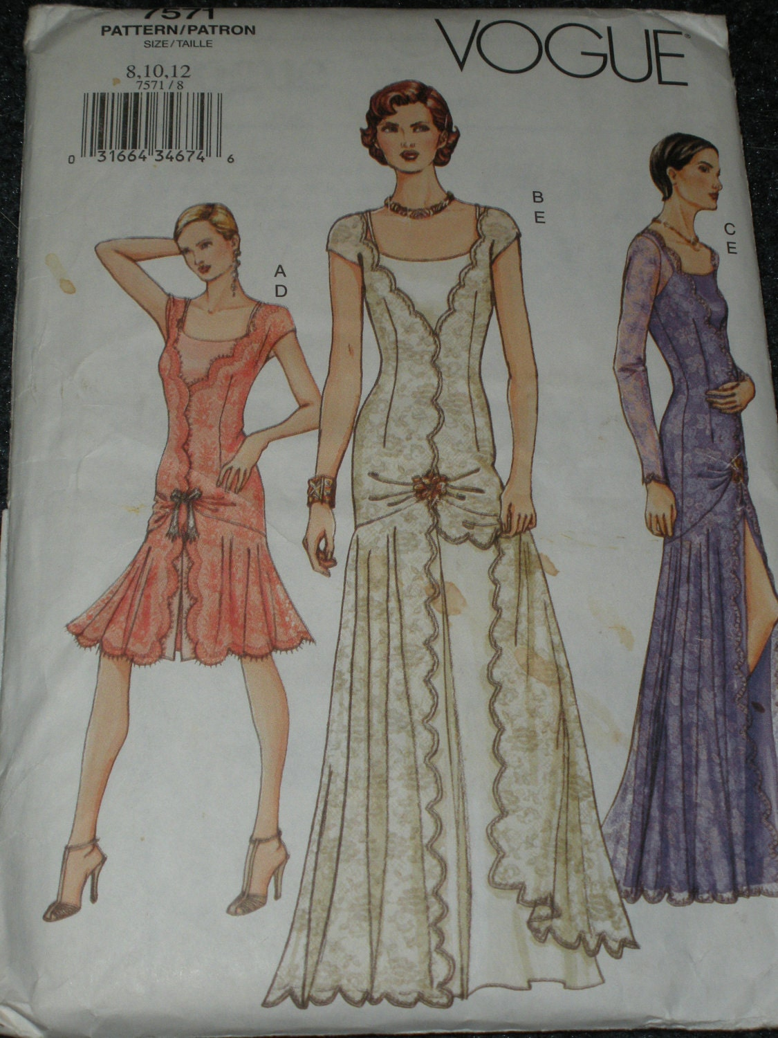 Vogue Pattern 7571 Evening Gown Cocktail Dress 1920 S