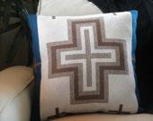 Pendleton pillow, Navajo patterned blanket wool,  teal, cream, taupe, brown cotton suede backing18 x 18