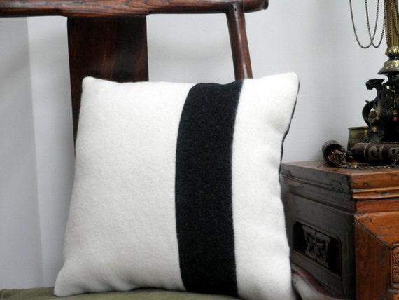 Pendleton Wool Throw Pillow, wool Blanket, Navajo , black and white 16x16