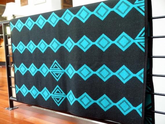 Pendelton blanket, tribal meets bright graphic geometics, reversible, turqouise teal, black, diamonds, 60 x 54