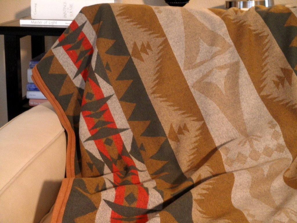Pendleton Wool Blanket Tribal Teepee Design Summer Picnics