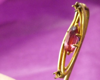 Art Nouveau Stick Pin Gold Filled Pink Glass Shabby Chic