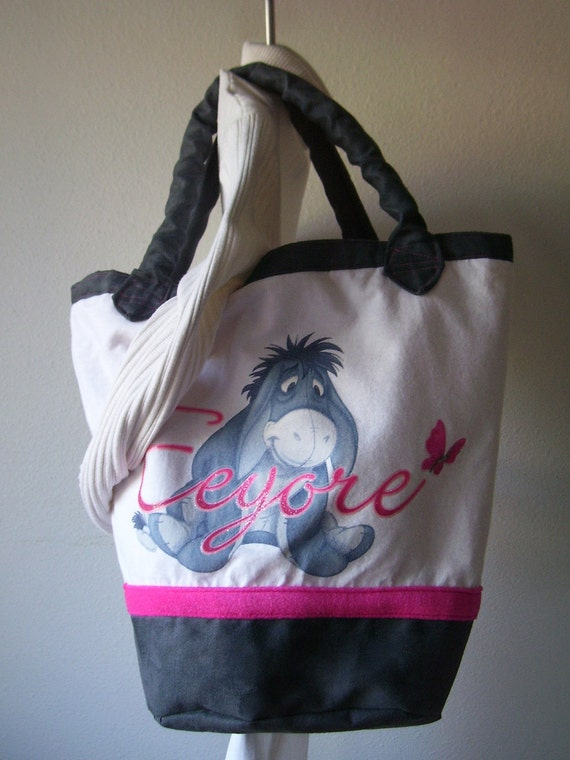 Eeyore Repurposed T Shirt Tote  Bag Again