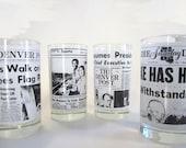 """Set of Four Vintage """"Denver Post"""" Historical Newspaper Cups"""