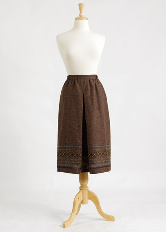 Vintage 70s Midi Skirt -  Boho Brown Wool Ethnic High Waisted Skirt - M