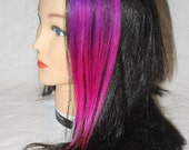 Pink and Purple Rainbow Clip In Hair Extension 100% Human Hair