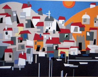 Harbor Houses on hill, mediterranean,  collage, colorful, whimsical, water, paper, realistic collage, harbor, red roofs