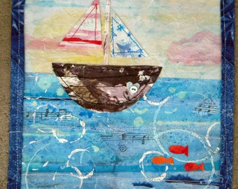 Sail Away With Me - SALE  - sailboat - boys art, bathroom art, beachy, paper cloth square, mixed media, cloth, blue, water, collage
