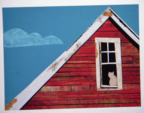 Barn Window - red barn with cat - collage art, paper, weathered barn, building, country, simple roof peek, red wood, farm