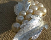 Sale Vintage Signed Lisner Silver Leaf and White Pearls Brooch-Looking for a holiday home