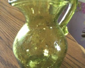 Vintage Green Creamer/ Pitcher Heart Shaped Top
