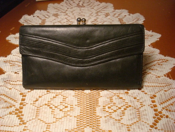 Womens Black Leather Vintage Wallet