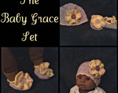 Baby, Newborn Hat, Beanie & Booties, Shoes in Purple and Yellow with Ruffle Flower and Button - Ready to Ship -The BABY GRACE SET
