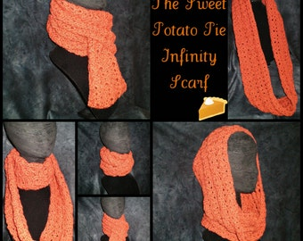 Sweet Potato Pie Infinity Scarf - Crochet never-ending burnt orange drape scarf - cute design, simple color - ready to ship
