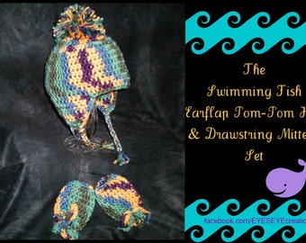 baby boy crochet earflap hat with pom-pom and drawstring mittens - ready to ship -The Swimming Fish