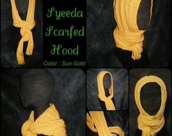 scoodie scarf, hood, hoodie, snoodie, sun gold, yellow, crochet - The SYEEDA SCARFED HOOD - Ready to Ship