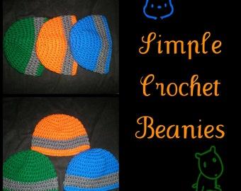 Crochet Boy Simple Beanie Cap Hats in Blue Orange Green Gray, Grey - Made to Order