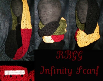 RBGG Infinity Scarf - red black green gold long rasta summer hijab crochet - Made to Order